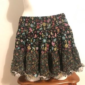 Flouncy black floral skirt