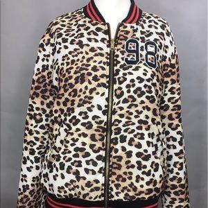 Forever 21 Satin Leopard Bomber Jacket HOT S