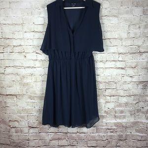 City Chic Black Sheer Gathered Waist Dress Size M