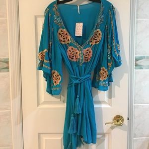 Free people  embroidered turquoise dress.