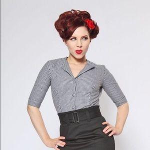 🆕 Black gingham print blouse heartbreaker fashion