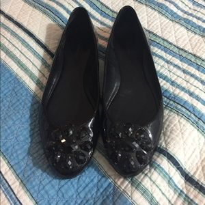 Black patent leather rhinestone flats