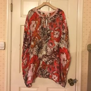 Plenty Tracy Reese orange floral beach caftan swim