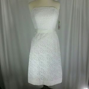 NWT Lilly Pulitzer White Eyelet Strapless Dress Sz