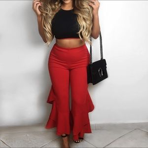 Miss pap size uk 10 nwt red flare trousers S/M