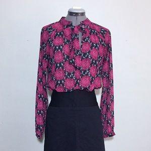 For Love & Lemons Bright Floral Blouse w Tie Neck