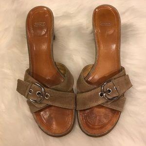 Coach Tan Strap Chunky Heeled Sandals