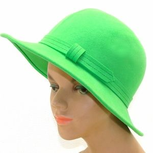 Vintage green wool cloche hat-fall winter fedora