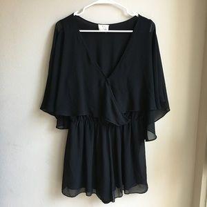 Urban Outfitters Black Cape Wrap Romper Dress L