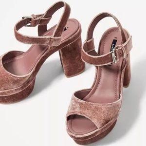 ZARA Pink Velvet Platforms
