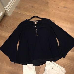 NAVY BLUE bell sleeve blouse