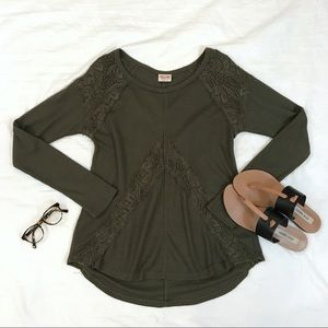 Olive Lace Waffle Knit Thermal Top