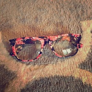 floral print clear frame glasses