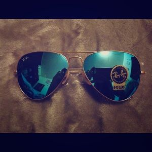 New ray ban blue & gold 3205 aviator sunglasses