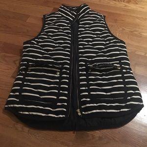 J Crew navy stripe puffer vest