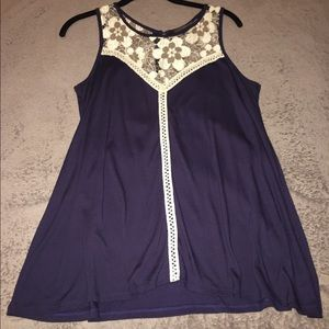 Tops - Navy and Lace Swing Tank