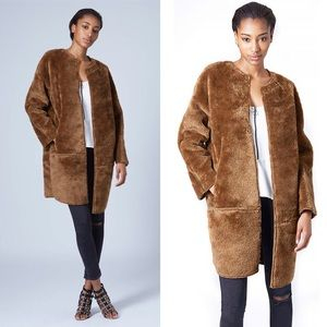 TOPSHOP faux fur throw on bonded coat