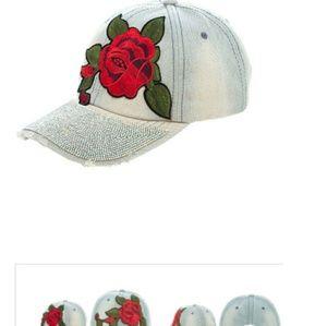 Denim rose patch  hat