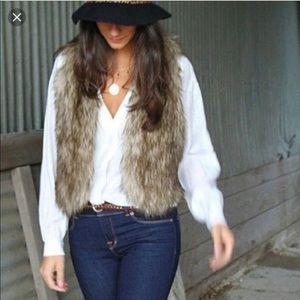 Faux for vest, boho, vintage