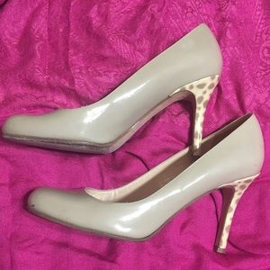 Kate Spade Karolina nude pumps w/ ocelot heel