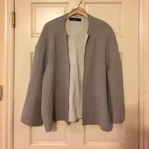 Zara open front box cardigan sweater M