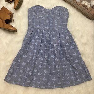 Victoria's Secret Blue Floral Strapless Dress