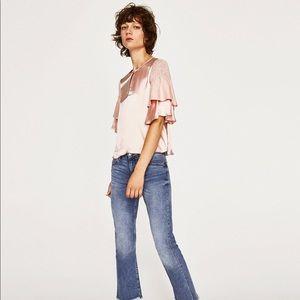 Zara Satin Top with Ruffle Sleeves Sz XS