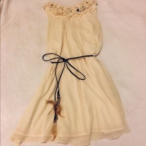 dress with feather belt