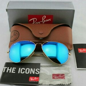 Ray Ban Blue mirror lenses Aviator sunglasses