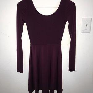 Maroon H&M SILKY Long Sleeve Dress