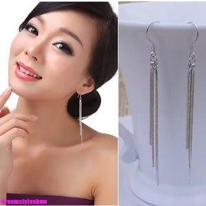 Jewelry - LONG 925 SILVER P TASSEL DANGLE EARRINGS