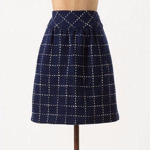 Maeve Anthropologie Converging Bits Skirt Navy 10
