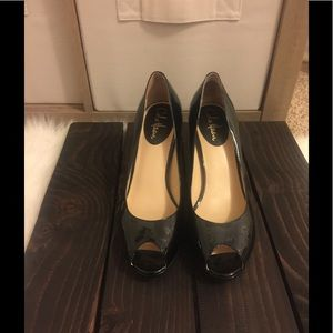 Black patent peep toe heels