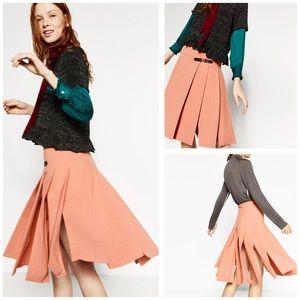 Like New Zara Pleated Kilt Skirt w Buckle Detail