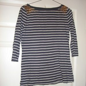 Merona, blue & white striped with gold sequins top