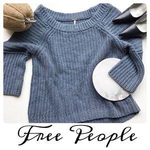 Free People Chunky Slate Blue Sweater Size Large
