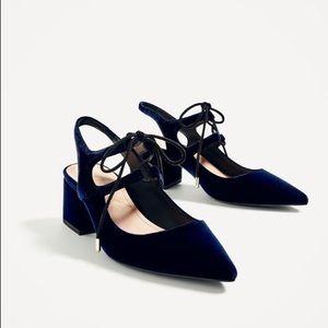 Zara Velvet Tie-Up Heels