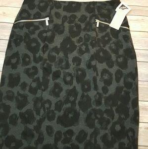 NWT Michael Kors animal print midi skirt