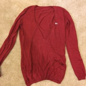 Lacost red v neck sweater