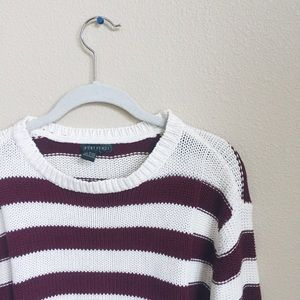 Maroon and white striped crop sweater