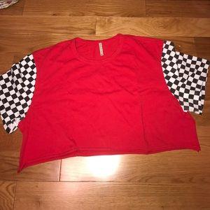 LF emma & Sam Checkered Sleeve Crop Top