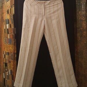 LOFT Pants, Striped, Tan Stripe Multi, Size 6