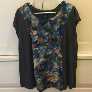 Forever 21+ Blouse with a Floral Panel 2X