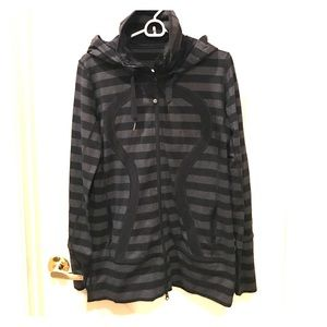 Black and gray lululemon zip front, hooded jacket!