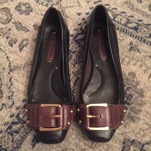 BCBG MaxAzira: Brown/Black Leather Buckle Flats