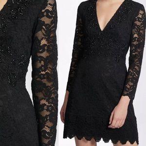 NWT FCUK lace black A-line dress sz 8