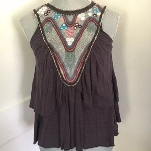 Free People Embroidered tiered tank