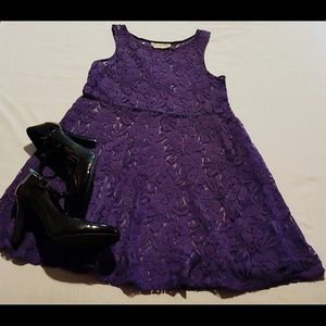 Free People Eggplant Purple All Lace Dress (S)