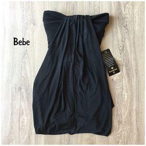 NWT bebe strapless draped front black dress XXS