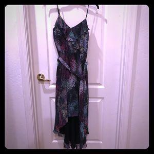 Fun multi-colored high-low flowy dress!